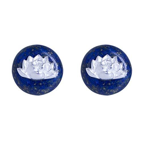 J.Memi's Natural Piedras Preciosas Collar Lapislázuli Loto Ronda Colgante Plata De Ley 925 Pendientes Joyeria Establecer,Earrings