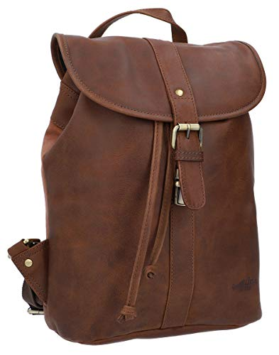 Gusti Bennett Leather Backpack Laptop Bag City Backpack Briefcase Women Men Leather Brown Leather