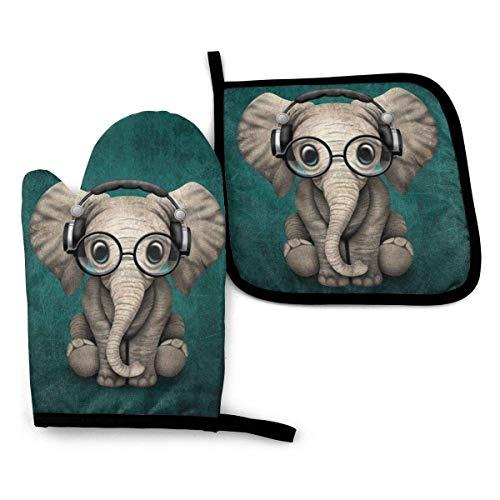 Animales de Dibujos Animados Elefante Resistente al Calor Impermeable Antideslizante Guantes de Barbacoa Juego de Almohadillas Calientes para Hornear cocinar a la Parrilla