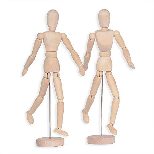 Alikeke 2 Pack 12 Inches Tall Wooden Mannequin Artist Manikin with Stand - Great for Drawing or Desktop Decor (Men and Women/Dad and Mom )
