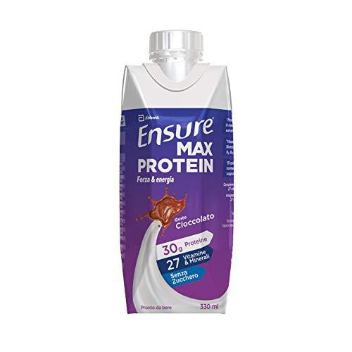 Abbott Nutrition Ensure Max Protein Integratore Proteico, Bevanda Proteica con Proteine e 27 Vitamine e Minerali, Confezione 8 X 330 ml, Gusto Cioccolato