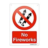 Jesiceny Great Tin Sign Aluminum Prohibited No Fireworks Outdoor & Indoor Sign Wall Decoration 12x8 INCH