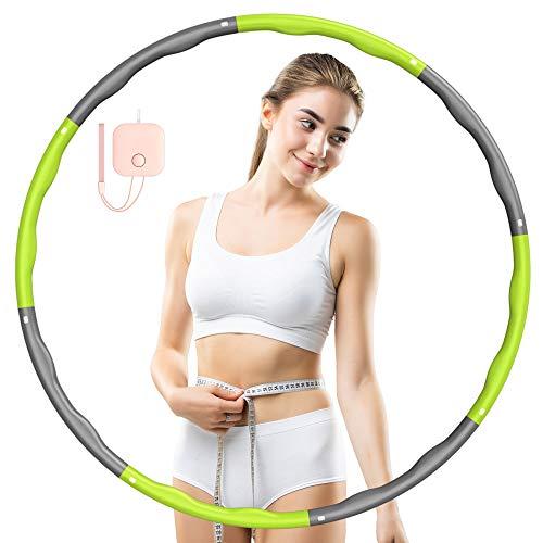 JIAMING Hula Reifen Hoop für Erwachsene und Kinder, Fitness Hula Ringe Geeignet, 8 abnehmbare Teile, Hula Reifen zur Gewichtsreduktion/Sport/Heim/Büro/Bauchformung, mit Mini-Maßband 1~1,2 kg