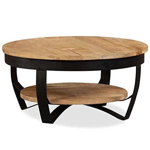 vidaXL Bois Massif de Manguier Table Basse Table d'Appoint Canapé Salon Maison