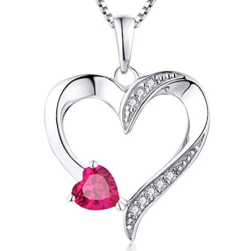 YL Heart Necklace 925 Sterling Silver Love Heart Pendant with Cubic Zirconia Ruby Birthstone Double Red Heart Jewelry