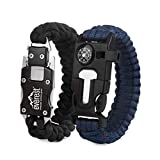 Everest Paracord Emergency Bracelets Set of 2 Adjustable Size The Ultimate Tactical Survival Gear | Flint Fire Starter, Whistle, Compass & Scraper for Camping, Hunting, Hiking, Fishing & More