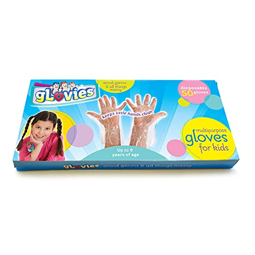 Glovies - My Mom Knows Best - 50 Multipurpose Latex-Free Disposable Gloves for Kids - 50 Count - Kindergarten to 3rd Grade