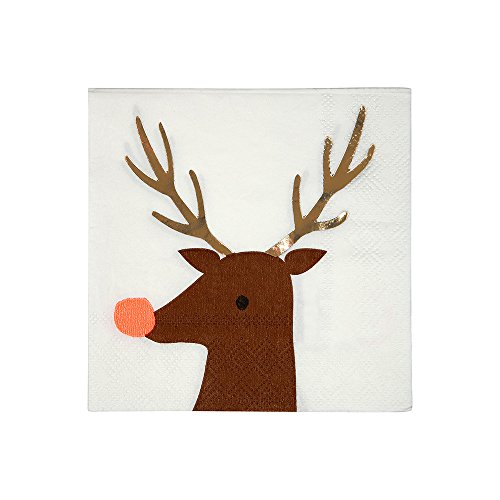 Meri Meri Reindeer Small Napkins - Pack of 16 - Cute Disposable Napkins for Holiday Themed Parties
