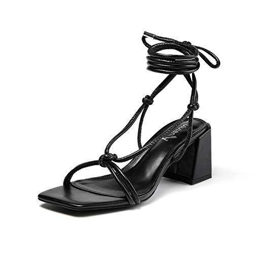 vivianly Women's Lace Up Chunky Heel Sandals Strappy Straps Ankle Wrap Heels