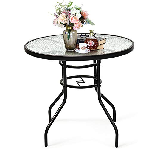 GOPLUS Runder Glastisch, Beistelltisch mit Schirmloch, Eisenbeinen & Tischplatte aus gehärtetem Glas, kann als Bistrotisch, Esstisch & Gartentisch, für den Innen- & Außenbereich