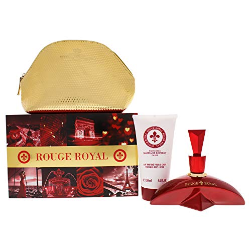 Rouge Royale Gift Set by Princesse Marina de Bourbon | Fragrance for Women | Floral Fruity Scent with Notes of Strawberry, Lime, and Jasmine | 3.4 oz Eau de Parfum Spray, 5 oz Body Lotion, and Pouch