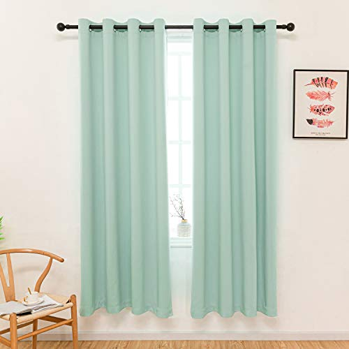 S DOLLCT Aqua Curtains for Bedroom Window Treatment Blackout Thermal Insulated Room Darkening Solid Grommet Drapes for Living Room Set of 2 Panels 52 by 84 Inch Long