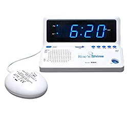 SONIC ALERT Rise 'n Shine Alarm Clock with Dual Alarms, Powerful Bed Shaker and USB Charging - SBT625SS