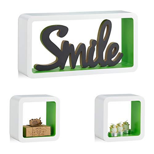 Relaxdays Cube Regal, 3er Set, Schwebend, Quadratisch, Modernes Design, Hoch- & Querformat, Kinderzimmer, MDF, Weiß/Grün