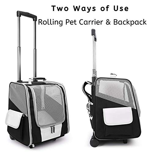 Lollimeow Pet Rolling Carrier, Dog Backpack with Wheels,Cats,Puppies Travel Bag with Wheels,Dog...