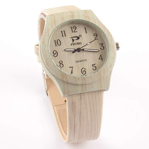 Relojes De Las Mujeres Reloj De Madera De Grano De Simulación Personalidad De La Moda Balanza Digital Reloj De Imitación Madera Retro Reloj De Comercio Exterior Muchachas De Las SeñOras Relojes Decora