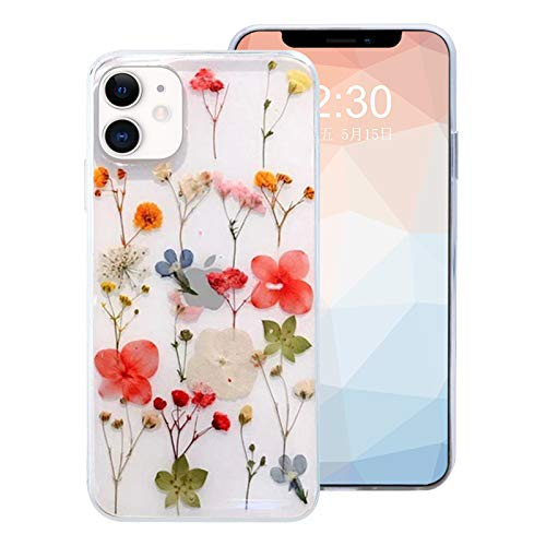 Omorro for iPhone 12 Pro Max Flower Girly Case, Girls Floral Design Pressed Dry Real Flowers Slim Cover Case Silicone TPU Rubber Romantic Cute Protective Clear Phone Case for Women Girls Kids Red