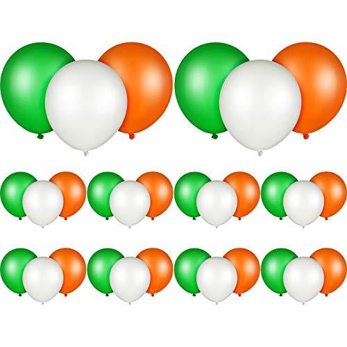 30 Piezas Globos de Fiesta de Tema de Día de San Patricio Globos de Día de San Patricio 10 Pulgadas Globos de Látex de Mardi Gras para Celebración Fiesta Irlandesa (Verde, Blanco, Naranja)