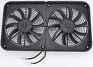 """JEGS Dual Electric Fan Assembly   Dual 12"""" Diameter Fans   Low-Profile   Quiet S-Blade Design   2600 CFM Airflow   Reversible   26' W x 15' H x 3.62' D   24.8 Amp Draw"""
