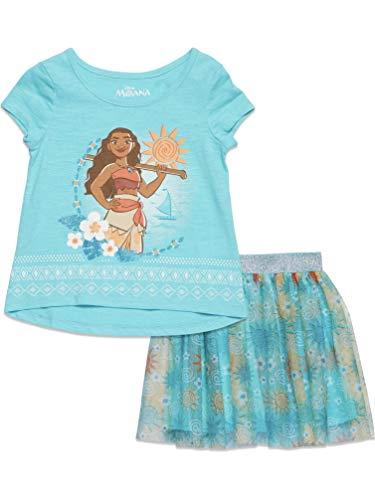 迪斯尼莫阿纳蹒跚学步的女孩短袖t恤和裙子集Aqua 4T
