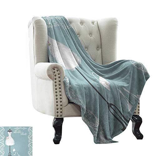 BelleAckerman - Manta de Ducha para Novia, diseño Vintage de inspiración Francesa con Marcos Florales, Microfibra Ligera de Color Azul y Blanco, para sofá o Cama