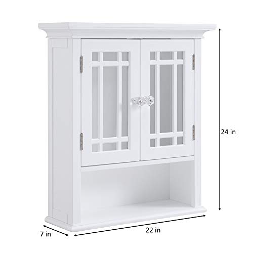 Elegant Home Fashions Neal Collection Shelved Wall Cabinet with Doors and Cubby, White