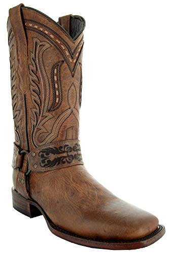 Soto Boots Women's Harness Cowgirl Boots M50038 (Tan,5.5)
