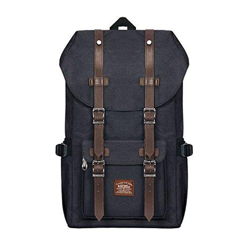 KAUKKO Rucksack Damen Herren Schön und Durchdacht Daypack mit Laptopfach für 15 Zoll Notebook für Schule,Uni, 22.4 L, Schwarz