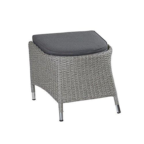 LC Garden Hocker Fußbank Modesto Dining grau Polyrattan-Geflecht Aluminiumrahmen