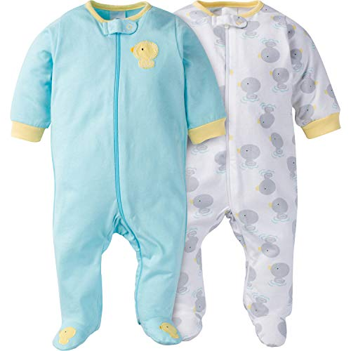 Gerber Baby Girls' 2-Pack Sleep 'N Play, New Duck, 0-3 Months
