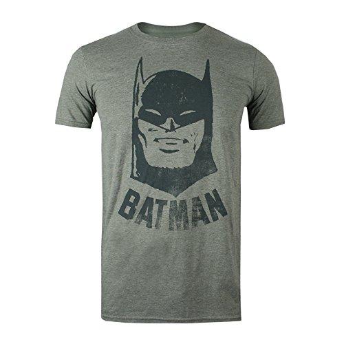dc comics Batman Vintage T-Shirt, Vert Militaire chiné, XL Homme
