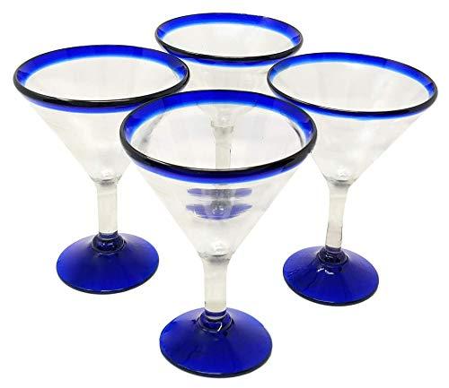 Mexican Hand Blown Glass – Set of 4 Hand Blown Modern Margarita Glasses - Blue Rim (12 oz)