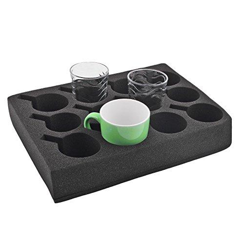 wamovo Tassenhalter Glashalter   12er   schwarz   Spezialschaum   330x245x60 mm