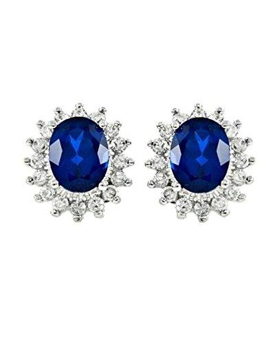 iJewelry2 Pendientes de boda británicos de zafiro azul CZ Kate Middleton inspirados en plata