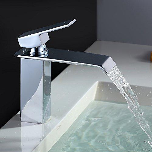 Homelody Chrom Waschtischarmatur Bad Wasserfall Wasserhahn Badarmatur Waschbeckenarmatur Einhebelmischer Waschtischbatterie Armatur für Bad (24,4 x 19,6 x 12,2)