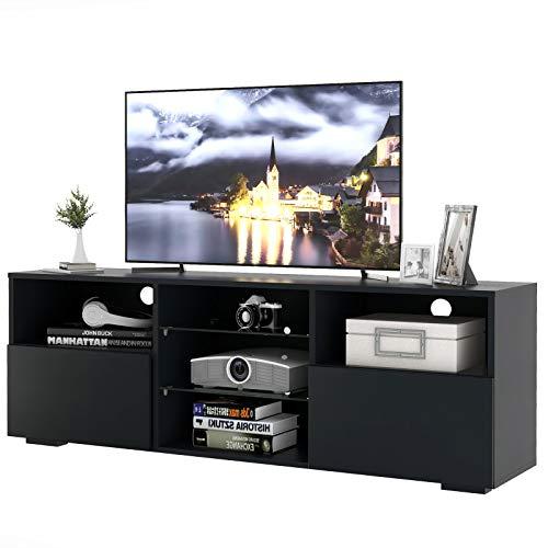 LongJiang Moderne TV-Einheit, LED-TV-Ständer 130 cm Schranktisch mit 16-Farben-LED-RGB-Leuchten, Aufbewahrung, weiße Hochglanzfront und weiße Mattplatte für Wohnmöbel