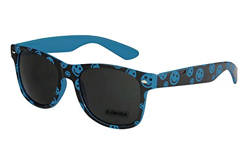 X-CRUZE® 8-036 X0 Nerd Sonnenbrille Retro Vintage Design Style Stil Unisex Herren Damen Männer Frauen Brille Nerdbrille - Smilies blau/schwarz
