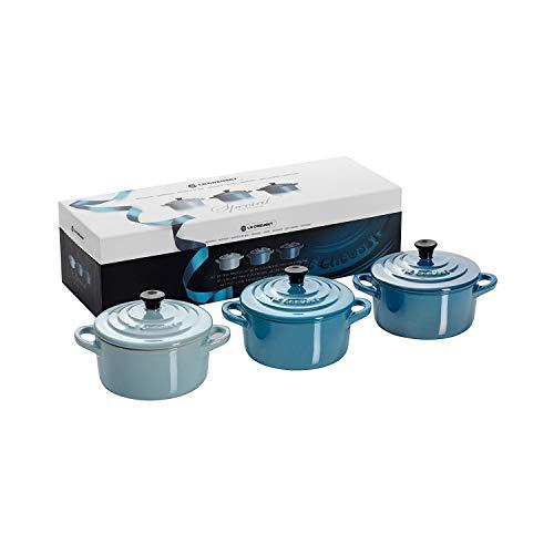 Le Creuset Mini-Cocotte/ Bräter-Set, 3-teilig, Rund, Je 200 ml, 10 x 5 cm, Steinzeug, Blau
