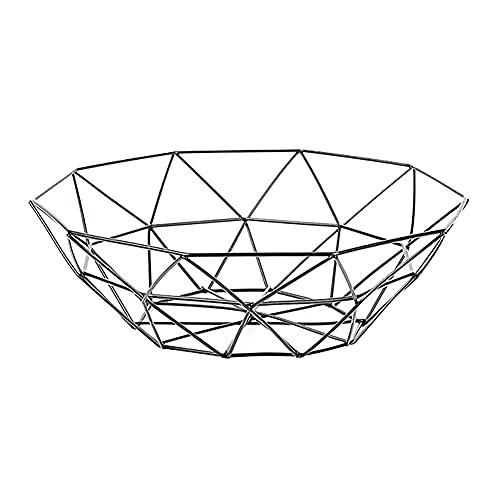 SBCNM Fruta geométrica Placa de Vegetal Canasta Metal Tazón de Cocina Almacenamiento de Mesa de Escritorio Muestra de Escritorio Cesta de Almacenamiento Bandejas de Frutas Back (Color : Black)
