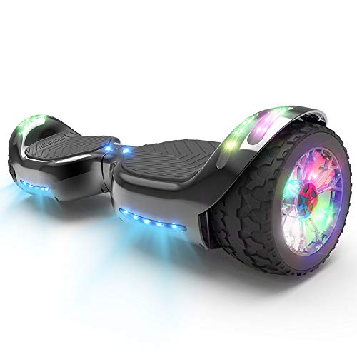 HOVERSTAR HS 2.0v Hoverboard All-Terrain Two Wide Wheels Design Self Balancing Flash Wheels Electric Scooter with Wireless Bluetooth Speaker and More LED Lights (Chrome Black)