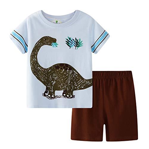 Julhold Estate Bambino Bambini Neonati Bambina Tempo Libero Pigiami Larghi Cartoon Top T-Shirt in Cotone Shorts 2PC Outfit