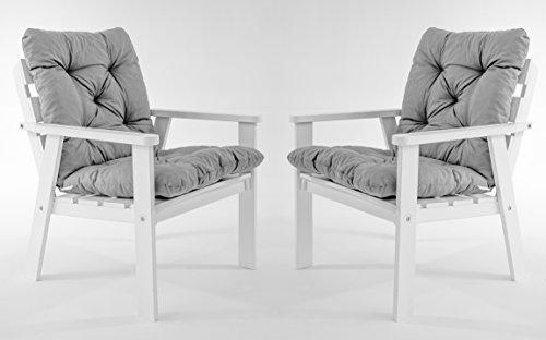 Ambientehome Lot de 2 chaises de Jardin ou terrasse HANKO en pin Massif, Ton Blanc, avec Coussins Confortables en Coton, 62x65x79 cm