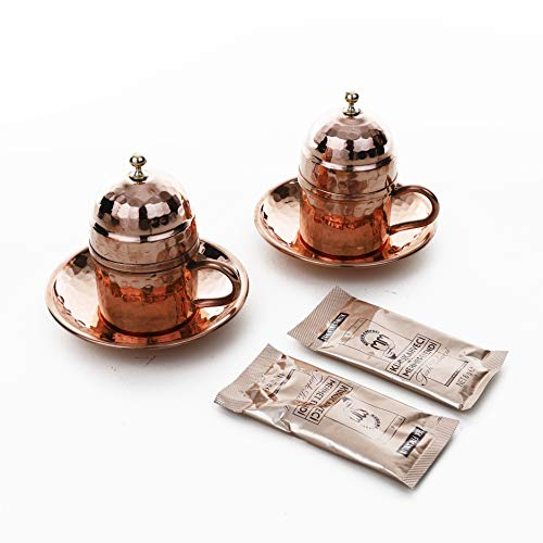 Erotto Kupfer Kaffeetassen Set für 2 Person - Kaffee Set/Kahve SETI 2'er - Spezielle türkische Kaffe/Mokka tassen - Orientalische Kaffeetasse (Kupferrot)