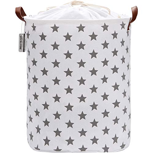 Sea Team 19.7 inch Large Sized Waterproof Coating Ramie Cotton Fabric Folding Laundry Hamper Bucket Cylindric Burlap Canvas Storage Basket with Stylish Grey Design