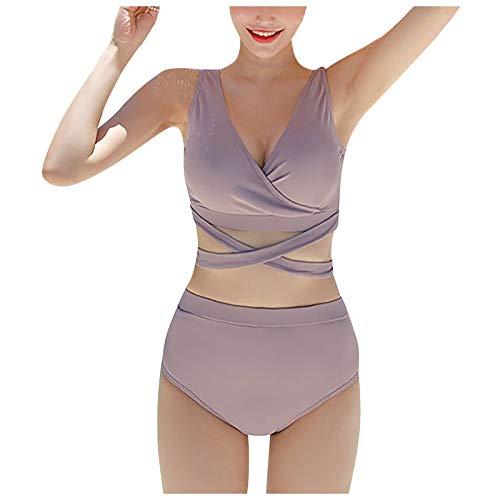 BIBOKAOKE Traje de baño de dos piezas para mujer, sujetador acanalado, parte superior acolchada, ropa interior de cintura alta, bañador para verano, moda elegante y cómodo
