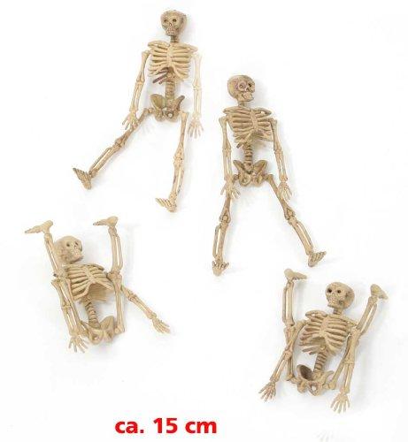 FASCHING 54489 Deko Halloween 4 Skelette 15cm NEU/OVP