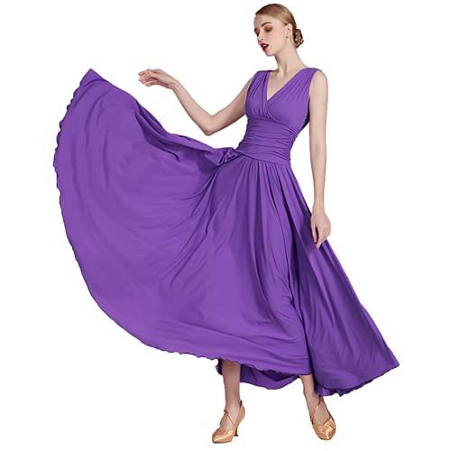 Vestidos de baile de Salón Sin Mangas para Mujer Vestido de Noche Elegante de la Falda de Danza del Vals Columpio Grande plisado Vestido de Cuello en V Práctica de ballet Ropa de baile,Violeta,XL