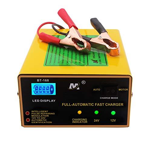 Etrogo Cargador Bateria de Coche 12V/24V 10A 200W Cargador de Batería de...