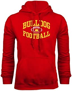 CollegeFanGear Ferris State Red Fleece Hoodie 'Bulldog Football Arched'