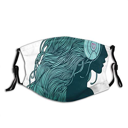 Mundschutz DJ Girl Profil mit Langen Haaren im Kopfhörer Nachtclub Silhouetten Party Waschbarer wiederverwendbarer Mundgesichtsschal